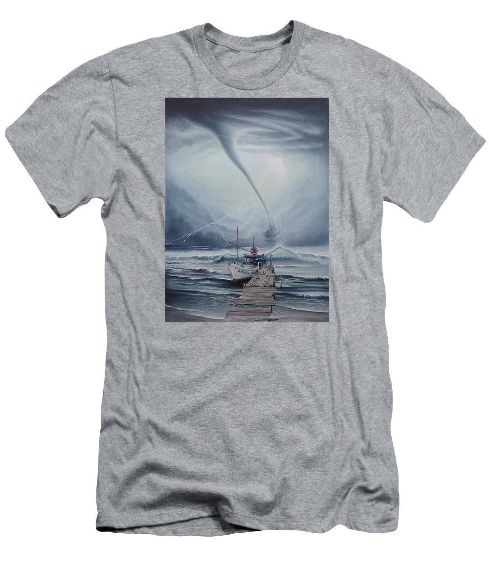 Seascape T-Shirt featuring the painting Tifon   water sprout by Angel Ortiz