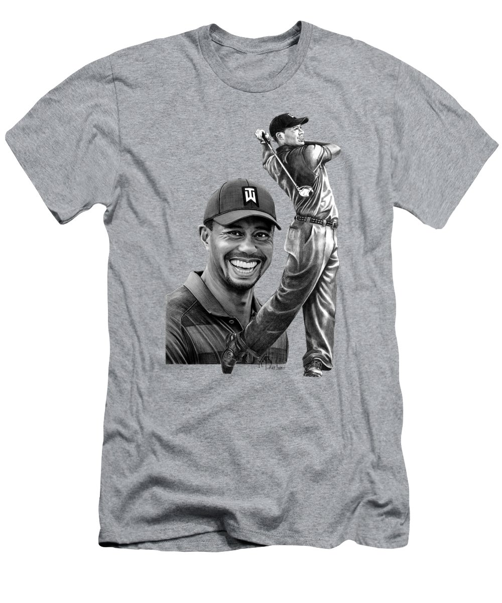 Pencil T-Shirt featuring the drawing Tiger Woods drawings by Murphy Art Elliott
