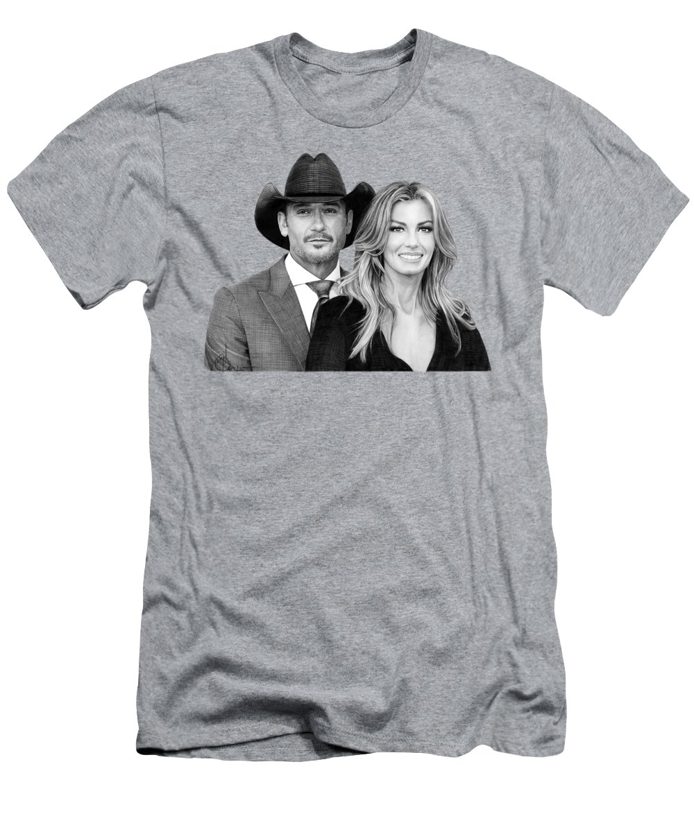 Pencil T-Shirt featuring the drawing Tim McGraw and Faith Hill drawing by Murphy Art Elliott