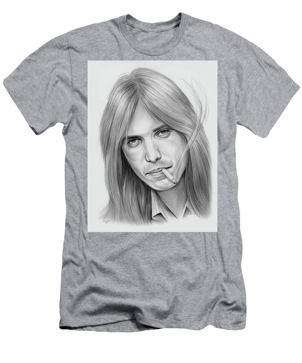 Tom Petty T-Shirt featuring the drawing Tom Petty - Pencil by Greg Joens