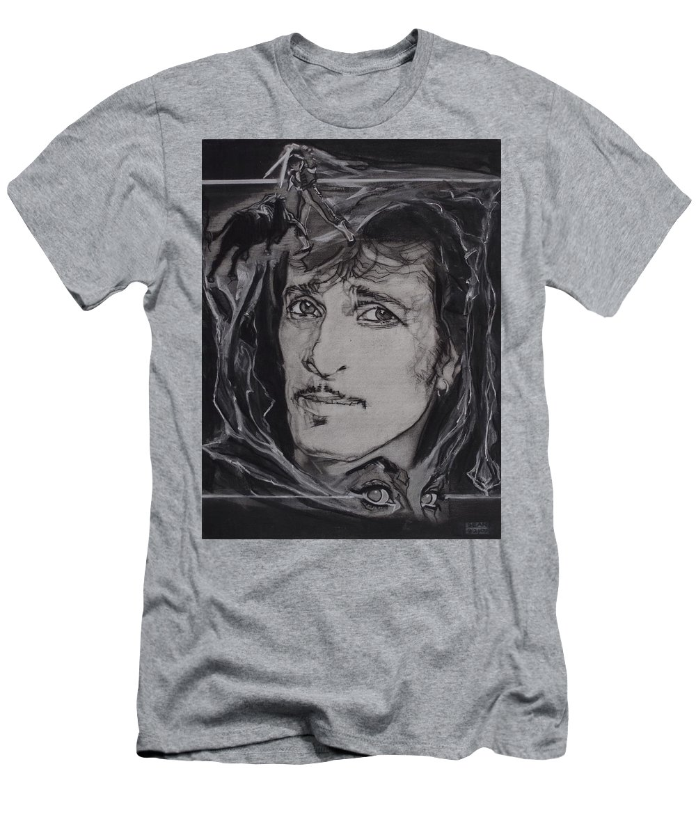 Charcoal T-Shirt featuring the drawing Willy Deville - Coup De Grace by Sean Connolly
