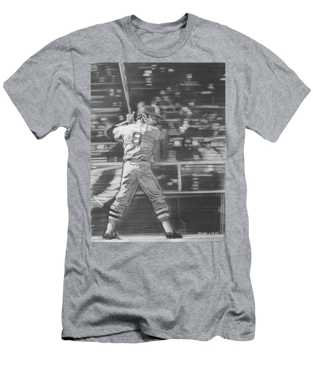 Charcoal On Paper T-Shirt featuring the drawing Yaz - Carl Yastrzemski by Sean Connolly