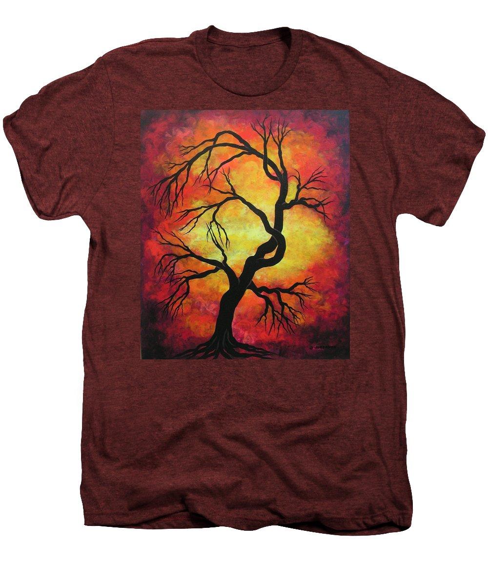 Acrylic Men's Premium T-Shirt featuring the painting Mystic Firestorm by Jordanka Yaretz