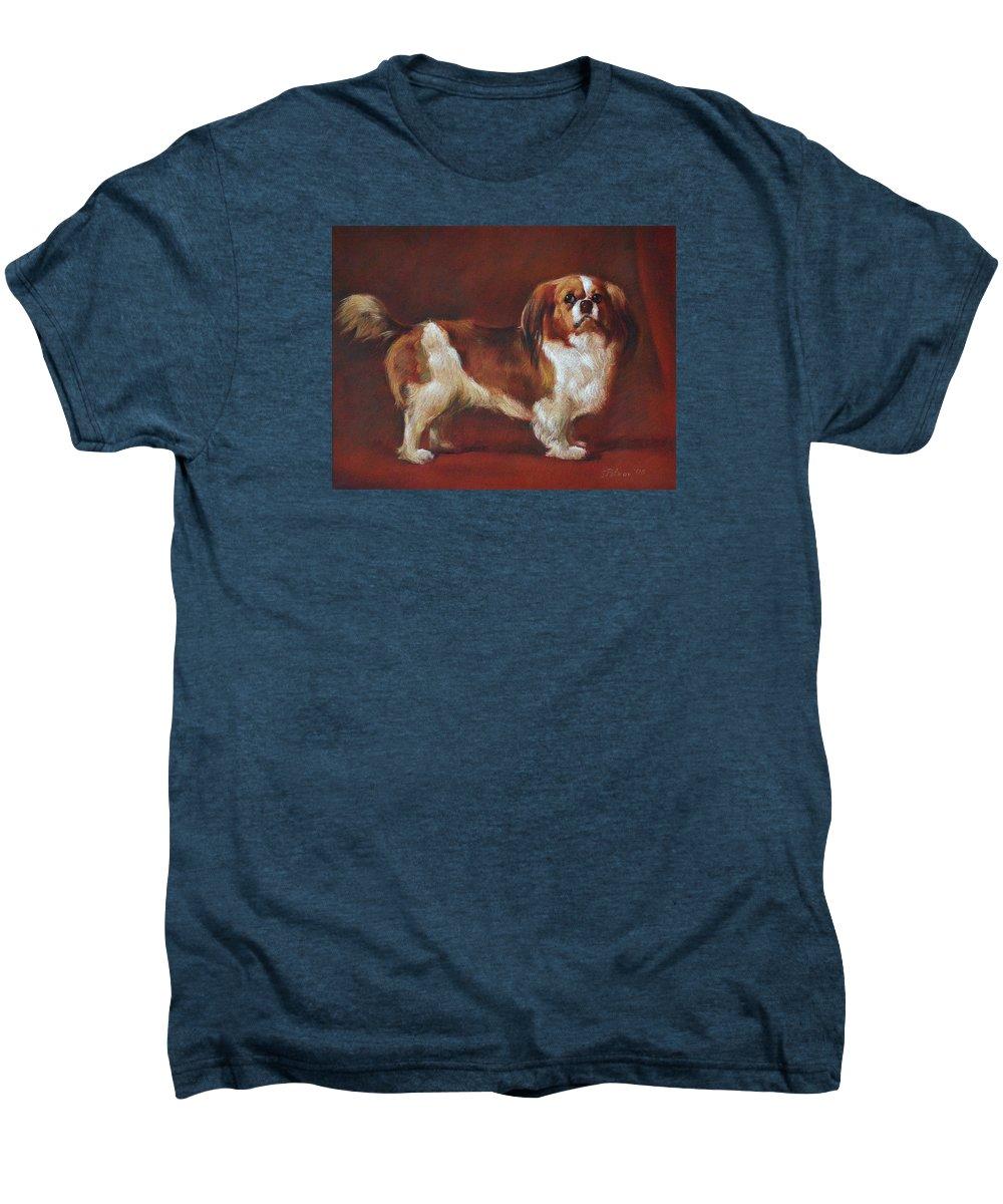 Pastel Men's Premium T-Shirt featuring the painting A King Charles Spaniel by Iliyan Bozhanov
