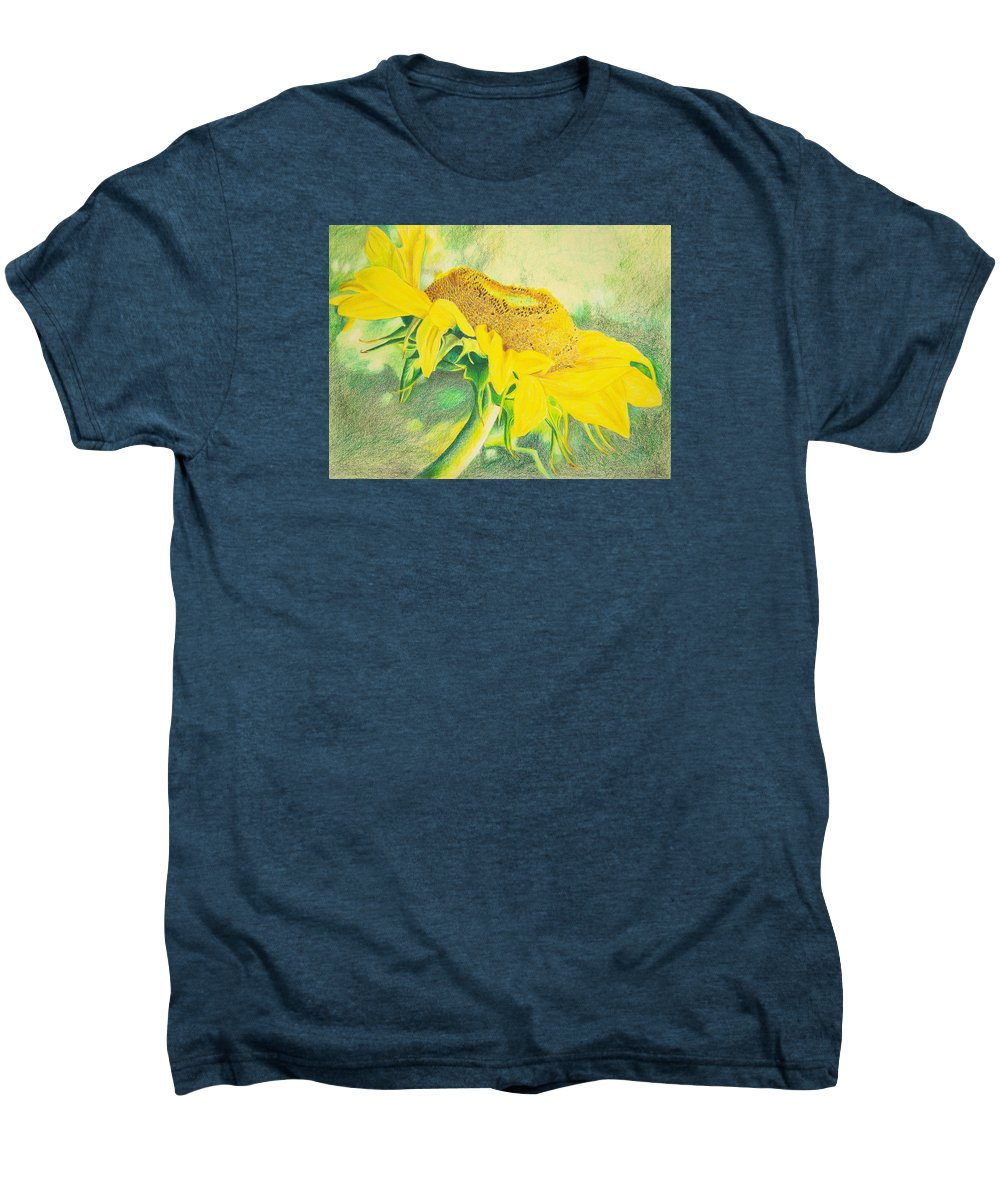 Sunflower Art Print Men's Premium T-Shirt featuring the mixed media Sunflower Print Art For Sale Colored Pencil Floral by Diane Jorstad