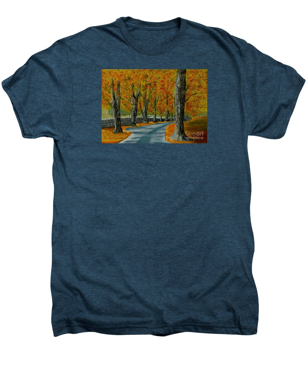 Autumn Men's Premium T-Shirt featuring the painting Autumn Pathway by Anthony Dunphy