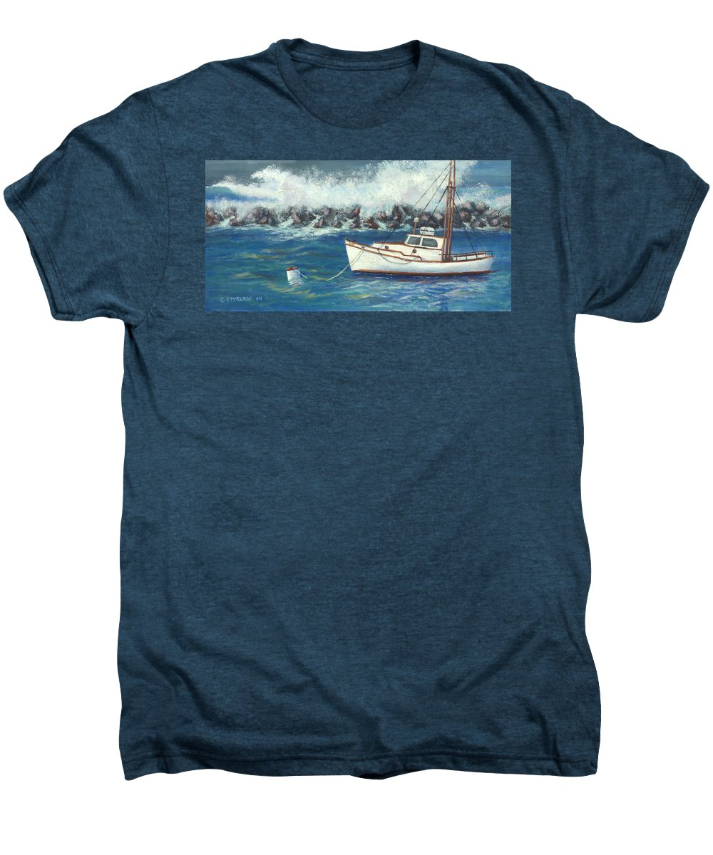 Ocean Men's Premium T-Shirt featuring the painting Behind The Breakwall by Jerry McElroy