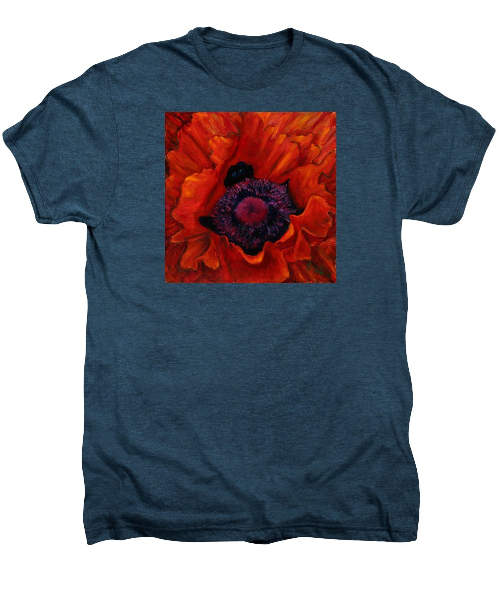 Red Poppy Men's Premium T-Shirt featuring the painting Close Up Poppy by Billie Colson