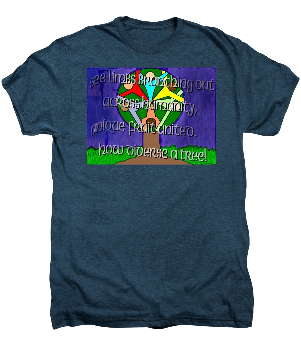 Diversity Men's Premium T-Shirt featuring the painting Diversity Tree by Pharris Art