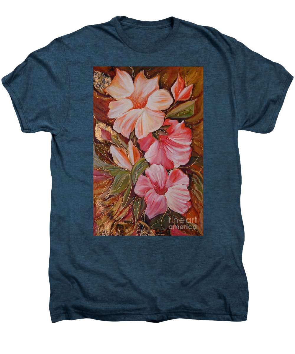 Abstract Men's Premium T-Shirt featuring the painting Flowers II by Silvana Abel