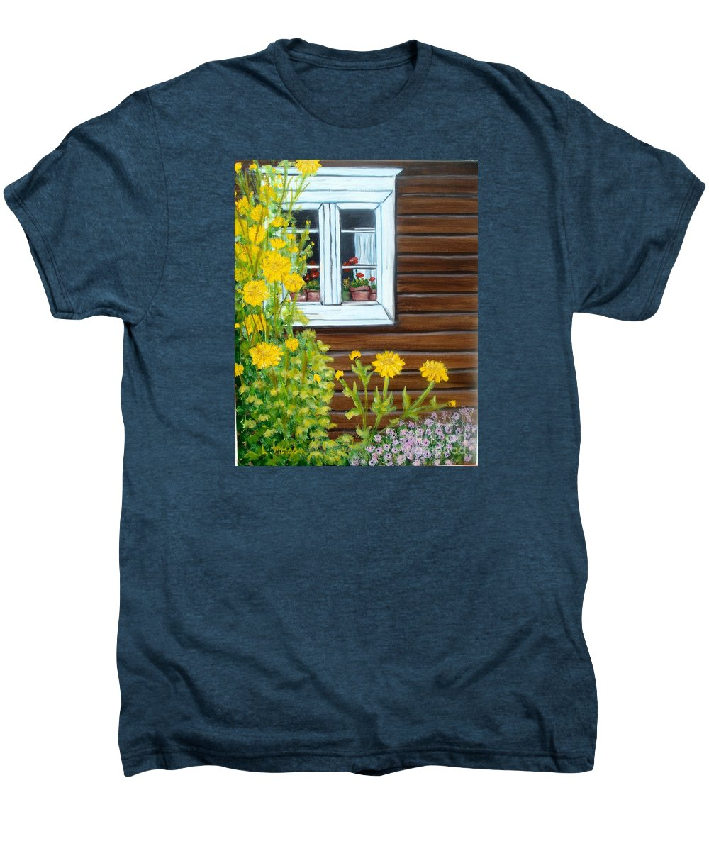 Window Men's Premium T-Shirt featuring the painting Happy Homestead by Laurie Morgan