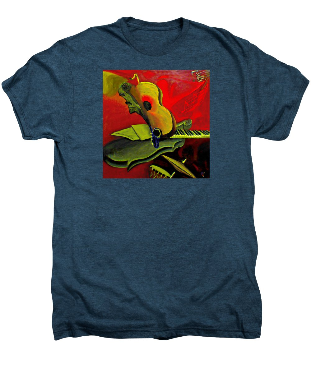 Abstract Men's Premium T-Shirt featuring the painting Jazz Infusion by Fli Art