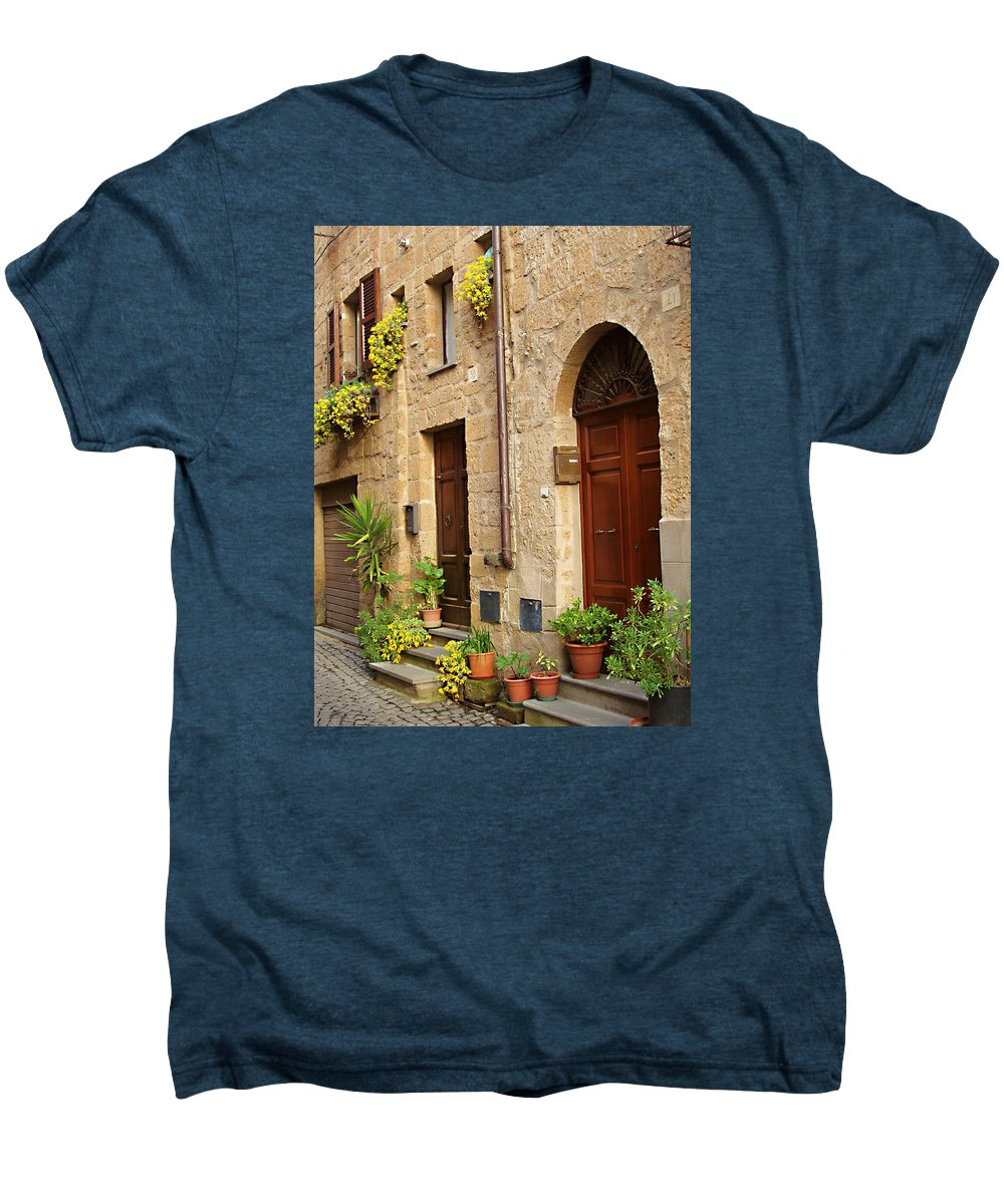 Orvieto Homes Men's Premium T-Shirt featuring the photograph Orvieto Homes by Ellen Henneke