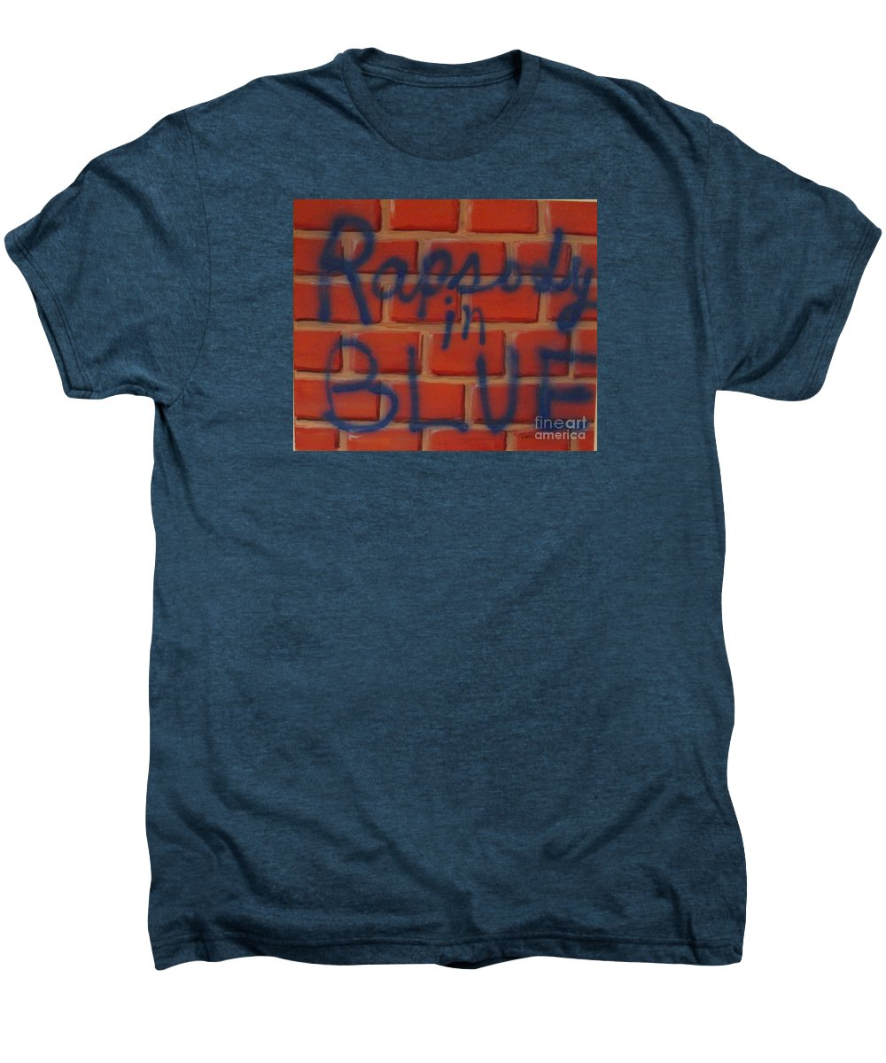 Abstract Men's Premium T-Shirt featuring the painting Rapsody In Blue by Laurie Morgan