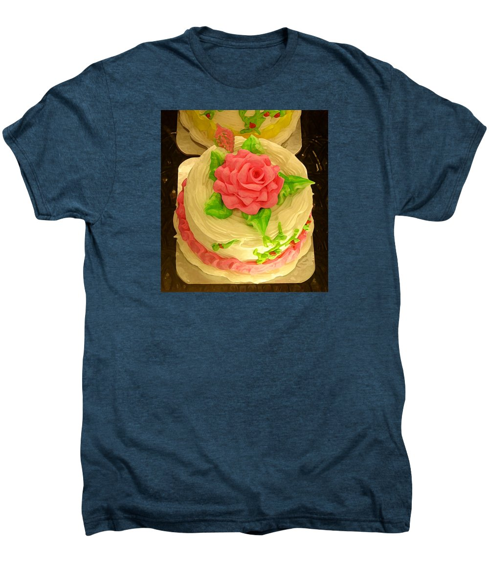 Food Men's Premium T-Shirt featuring the painting Rose Cakes by Amy Vangsgard