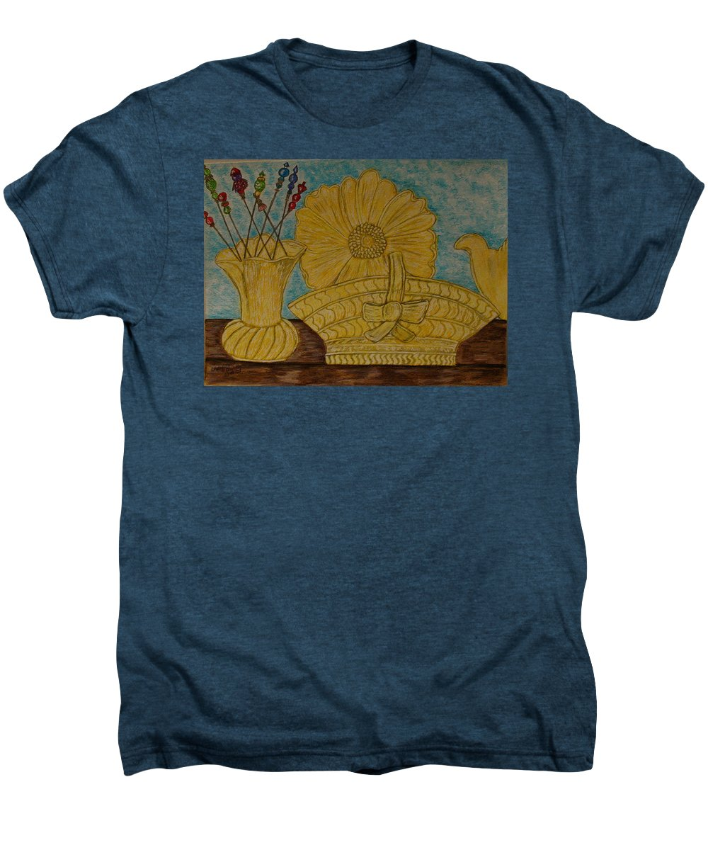 Stangl Pottery Men's Premium T-Shirt featuring the painting Stangl Pottery Satin Yellow Pattern And Vintage Hat Pins by Kathy Marrs Chandler