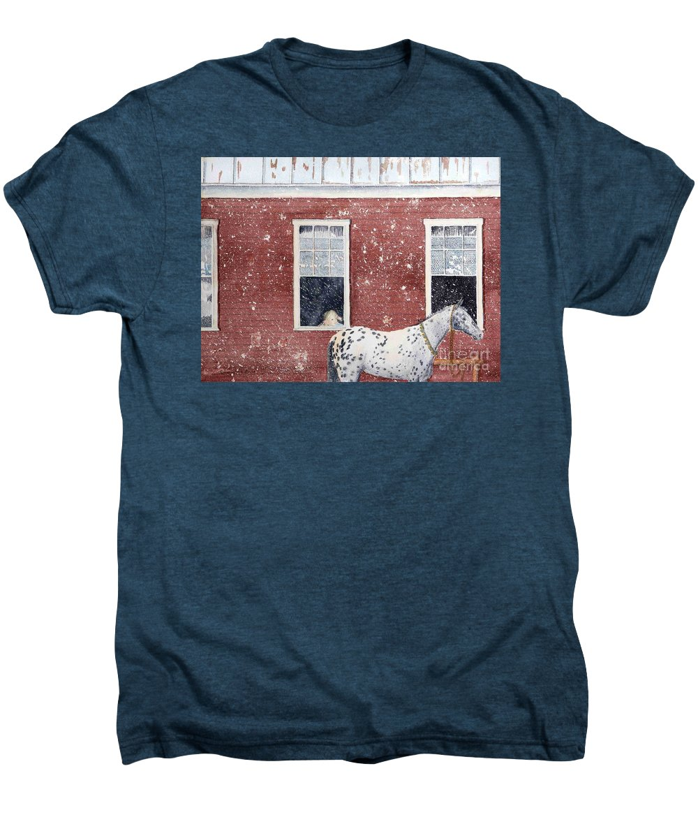 Horses Men's Premium T-Shirt featuring the painting The Ride Home by LeAnne Sowa
