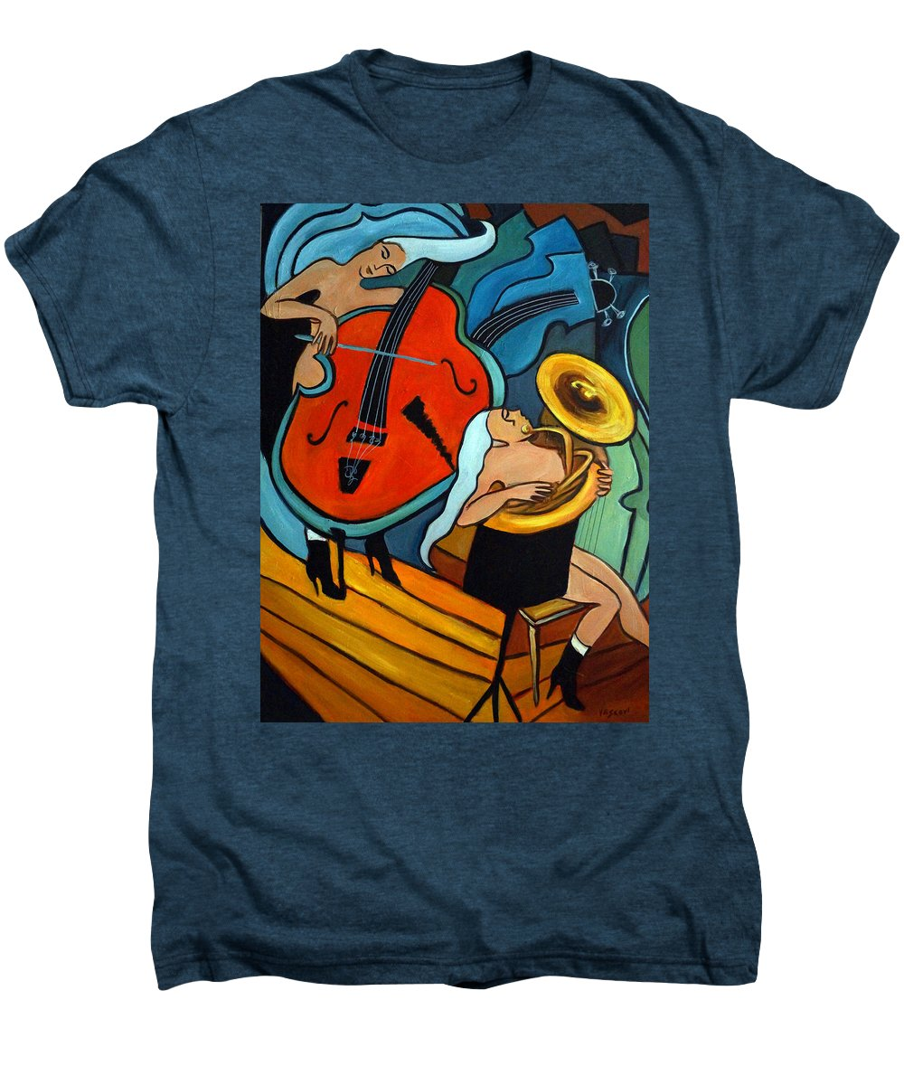 Musician Abstract Men's Premium T-Shirt featuring the painting The Tuba Player by Valerie Vescovi