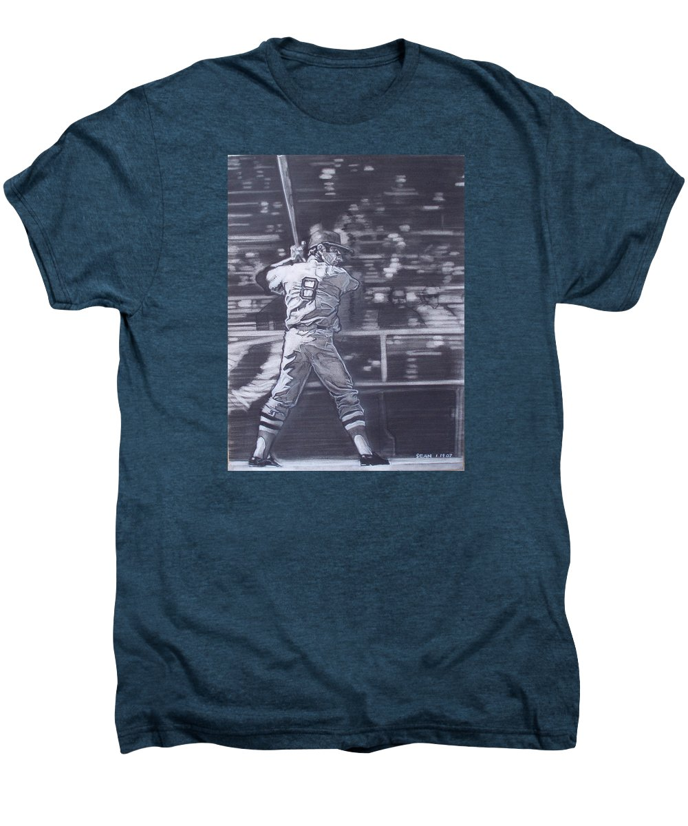 Charcoal Men's Premium T-Shirt featuring the drawing Yaz - Carl Yastrzemski by Sean Connolly