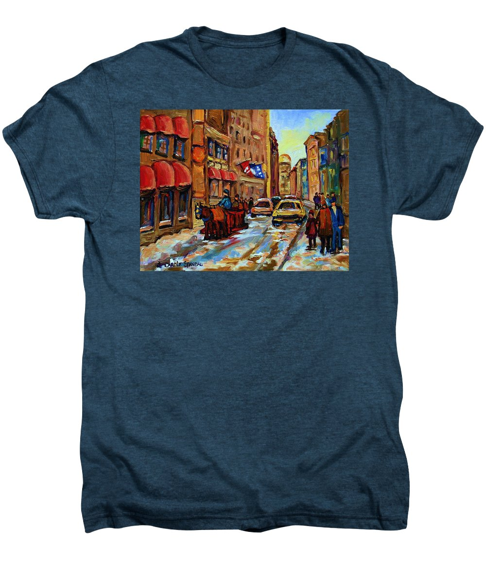 Horses Men's Premium T-Shirt featuring the painting The Red Sled by Carole Spandau