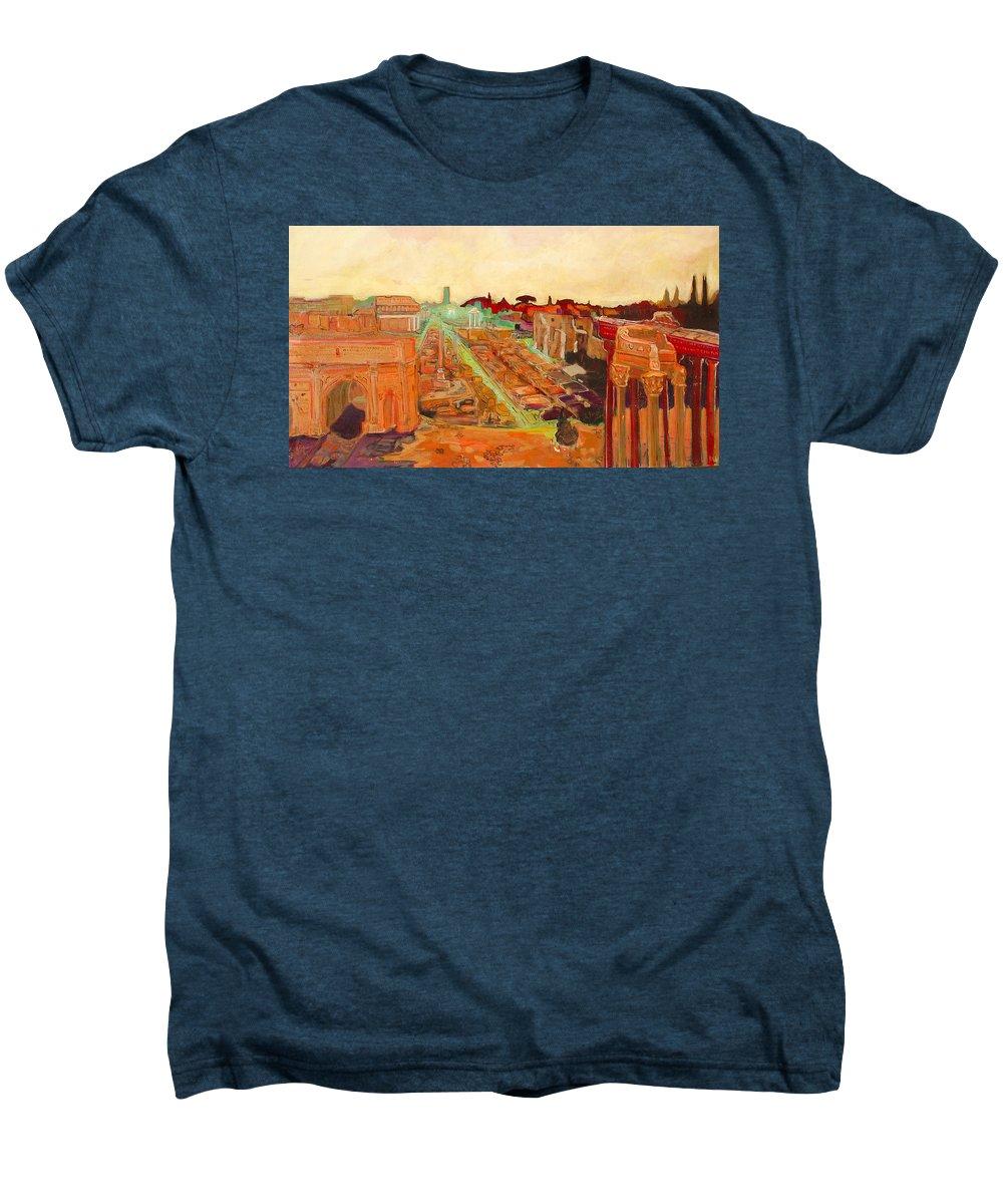 Rome Men's Premium T-Shirt featuring the painting Foro Romano by Kurt Hausmann