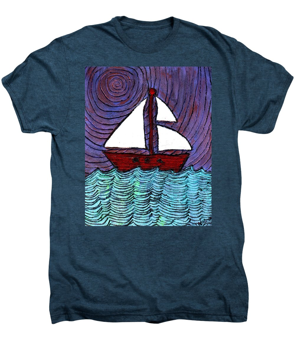 River Men's Premium T-Shirt featuring the painting On The River by Wayne Potrafka