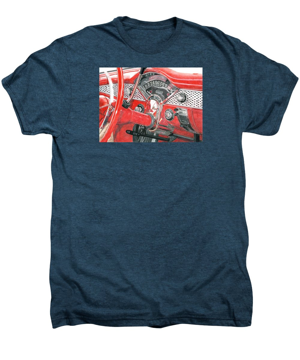 Classic Men's Premium T-Shirt featuring the drawing 1955 Chevrolet Bel Air by Rob De Vries