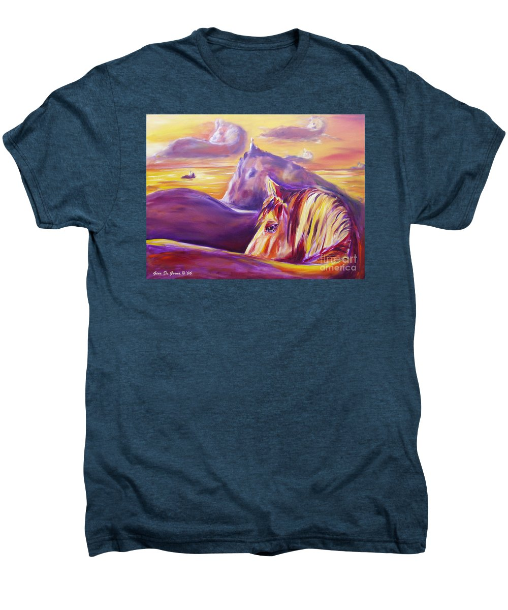Horses Men's Premium T-Shirt featuring the painting Horse World by Gina De Gorna