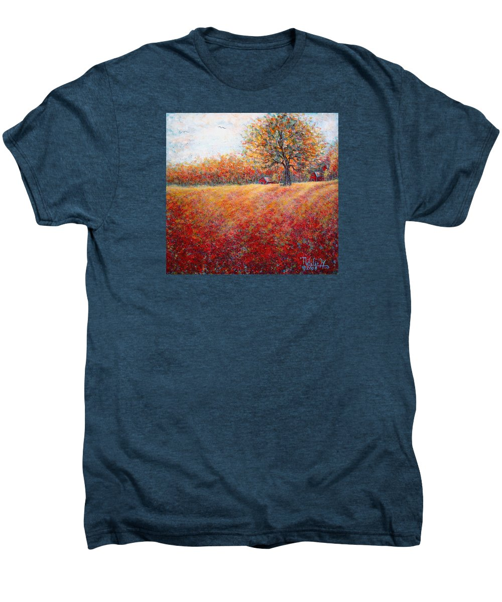 Autumn Landscape Men's Premium T-Shirt featuring the painting A Beautiful Autumn Day by Natalie Holland