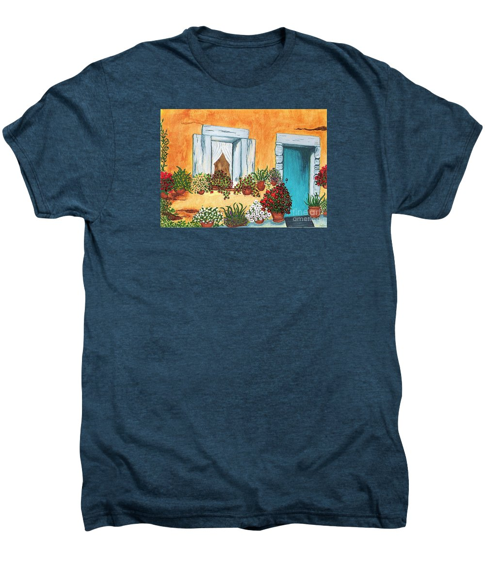 Watercolor Painting Men's Premium T-Shirt featuring the painting A Cottage In The Village by Patricia Griffin Brett