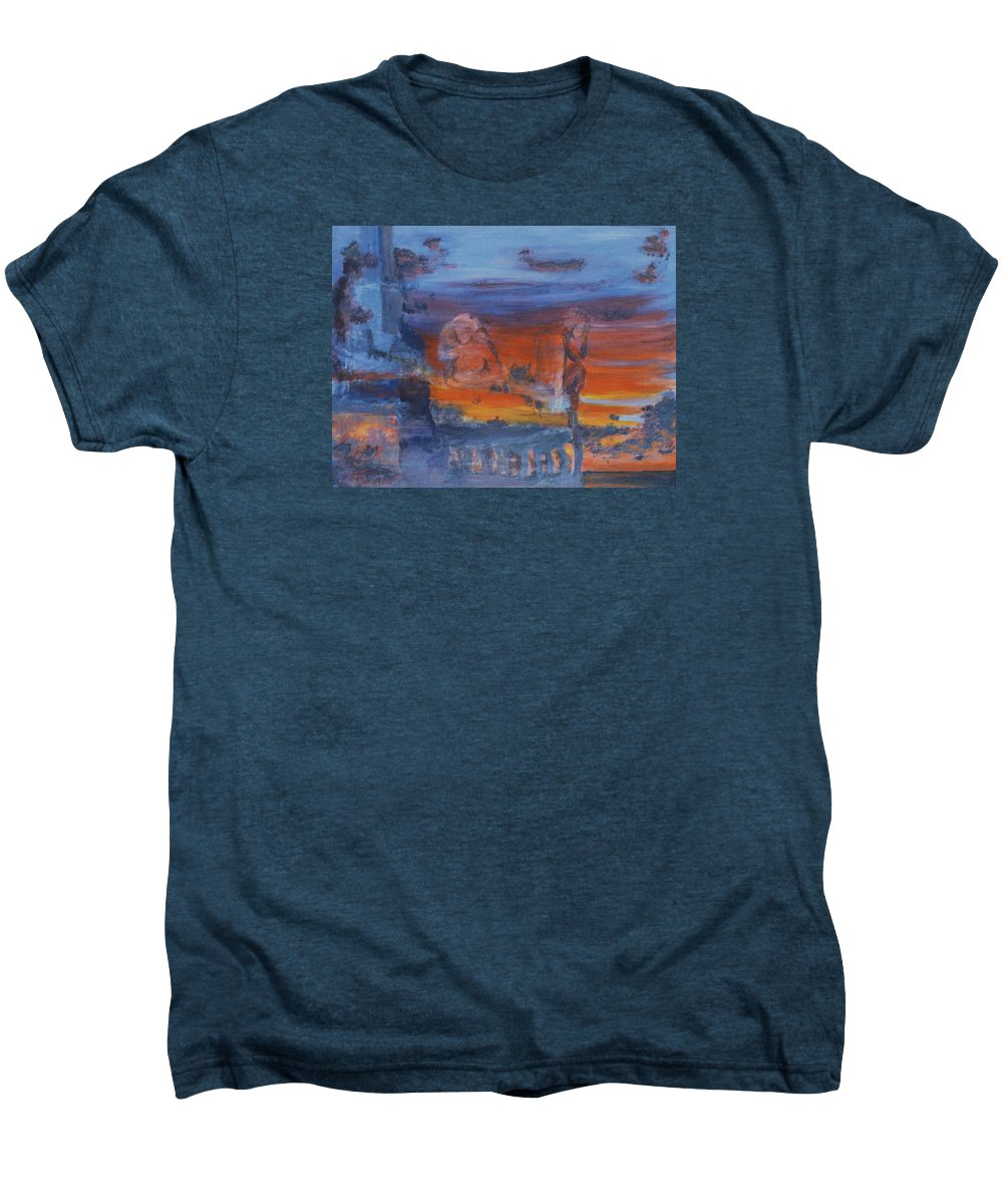 Abstract Men's Premium T-Shirt featuring the painting A Mystery Of Gods by Steve Karol