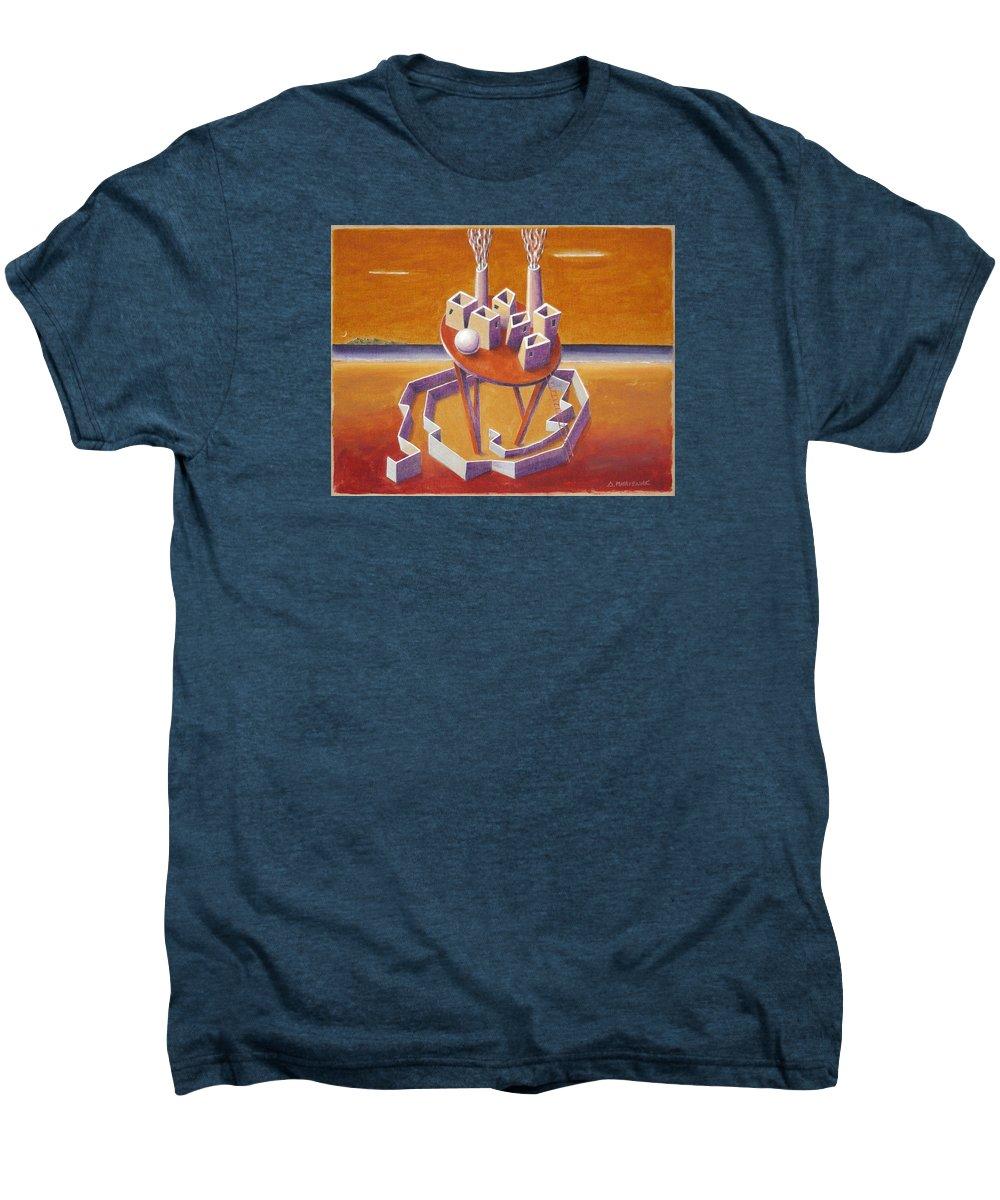 Metaphysical Symbolic Sureal Surrealist Greece Greek Landscape Factory Architecture Seascape Ball Men's Premium T-Shirt featuring the painting A Peasents Dream by Dimitris Milionis