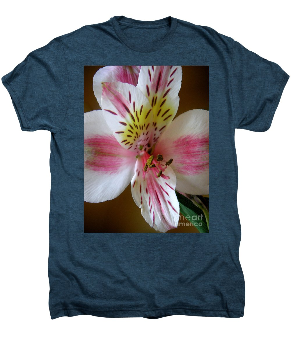 Nature Men's Premium T-Shirt featuring the photograph Alstroemerias - Close by Lucyna A M Green