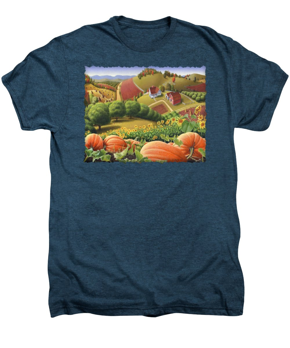 Pumpkin Men's Premium T-Shirt featuring the painting Farm Landscape - Autumn Rural Country Pumpkins Folk Art - Appalachian Americana - Fall Pumpkin Patch by Walt Curlee