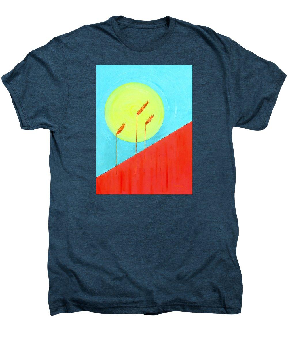 Landscape Men's Premium T-Shirt featuring the painting Autumn Harvest by J R Seymour