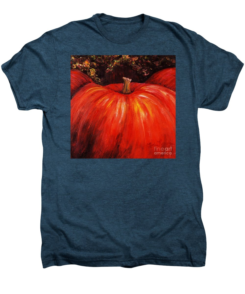 Orange Men's Premium T-Shirt featuring the painting Autumn Pumpkins by Nadine Rippelmeyer