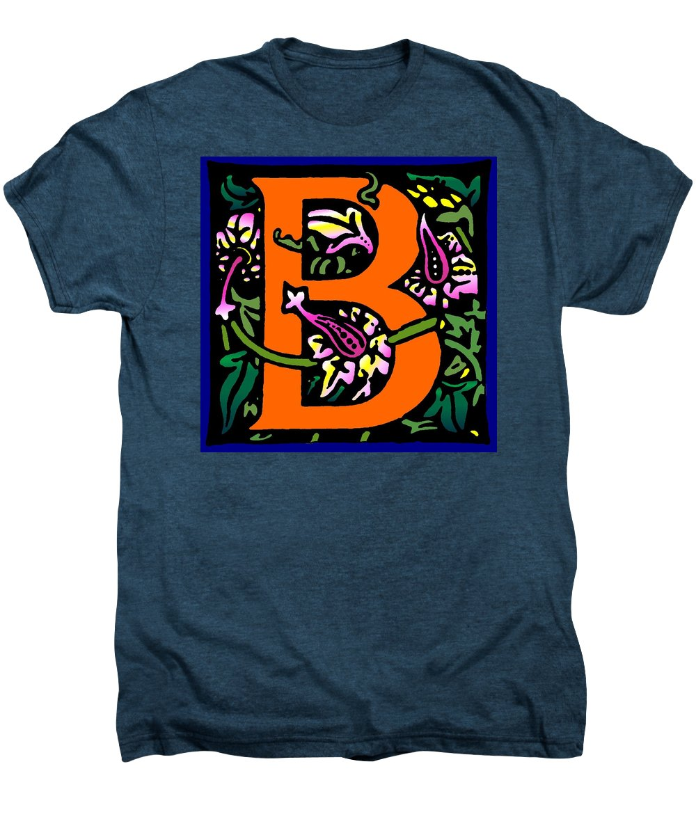 Alphabet Men's Premium T-Shirt featuring the digital art B In Orange by Kathleen Sepulveda