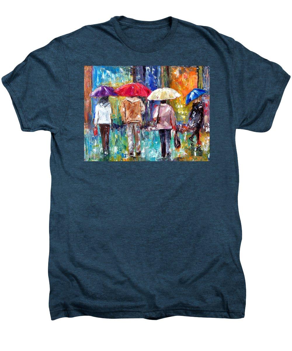 Rain Men's Premium T-Shirt featuring the painting Big Red Umbrella by Debra Hurd