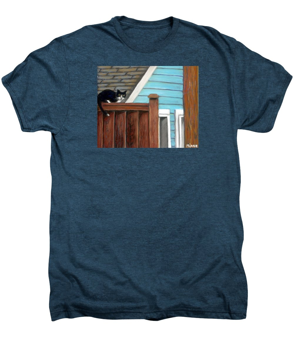 Cat Men's Premium T-Shirt featuring the painting Black Alley Cat by Minaz Jantz