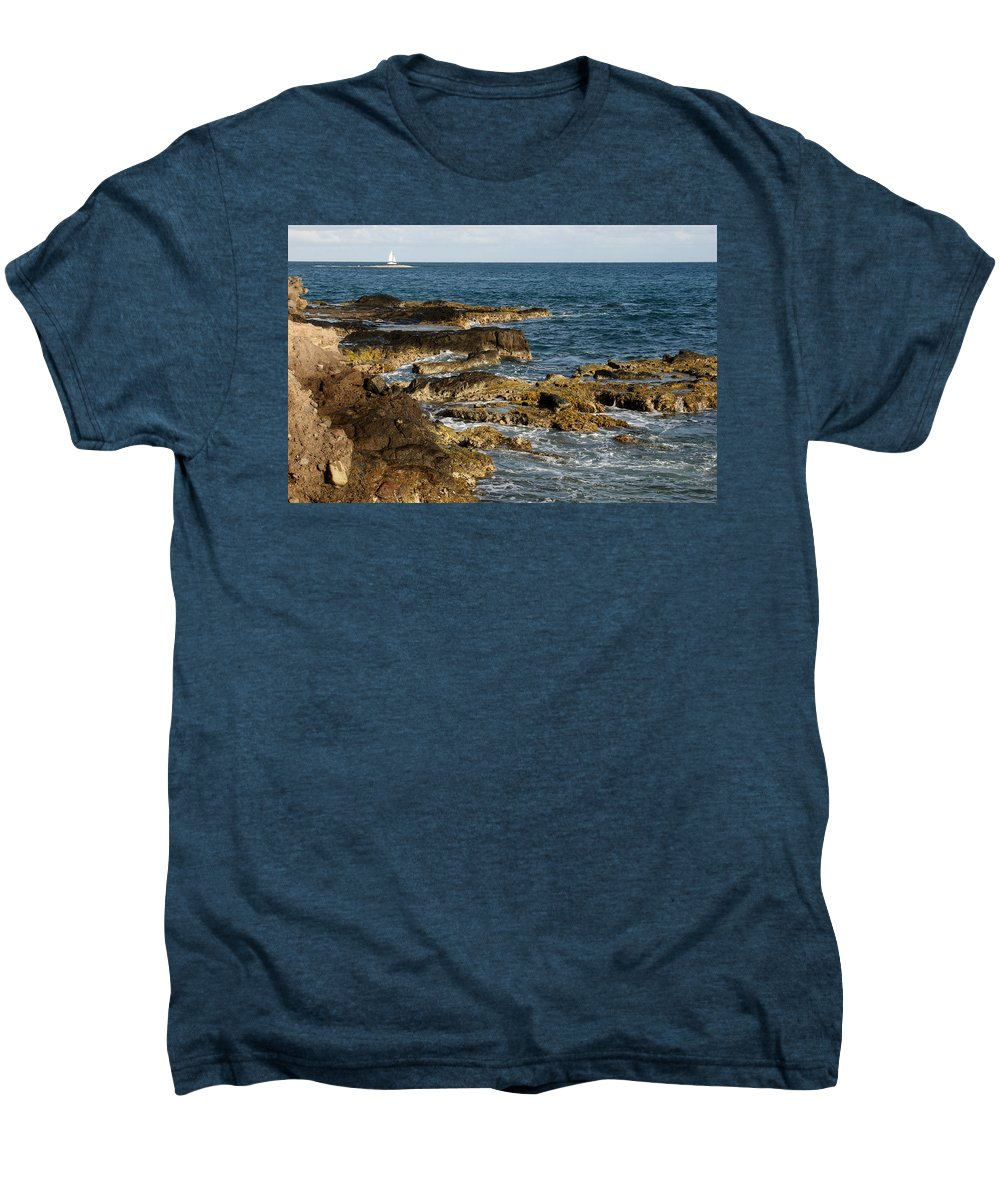 Sailboat Men's Premium T-Shirt featuring the photograph Black Rock Point And Sailboat by Jean Macaluso