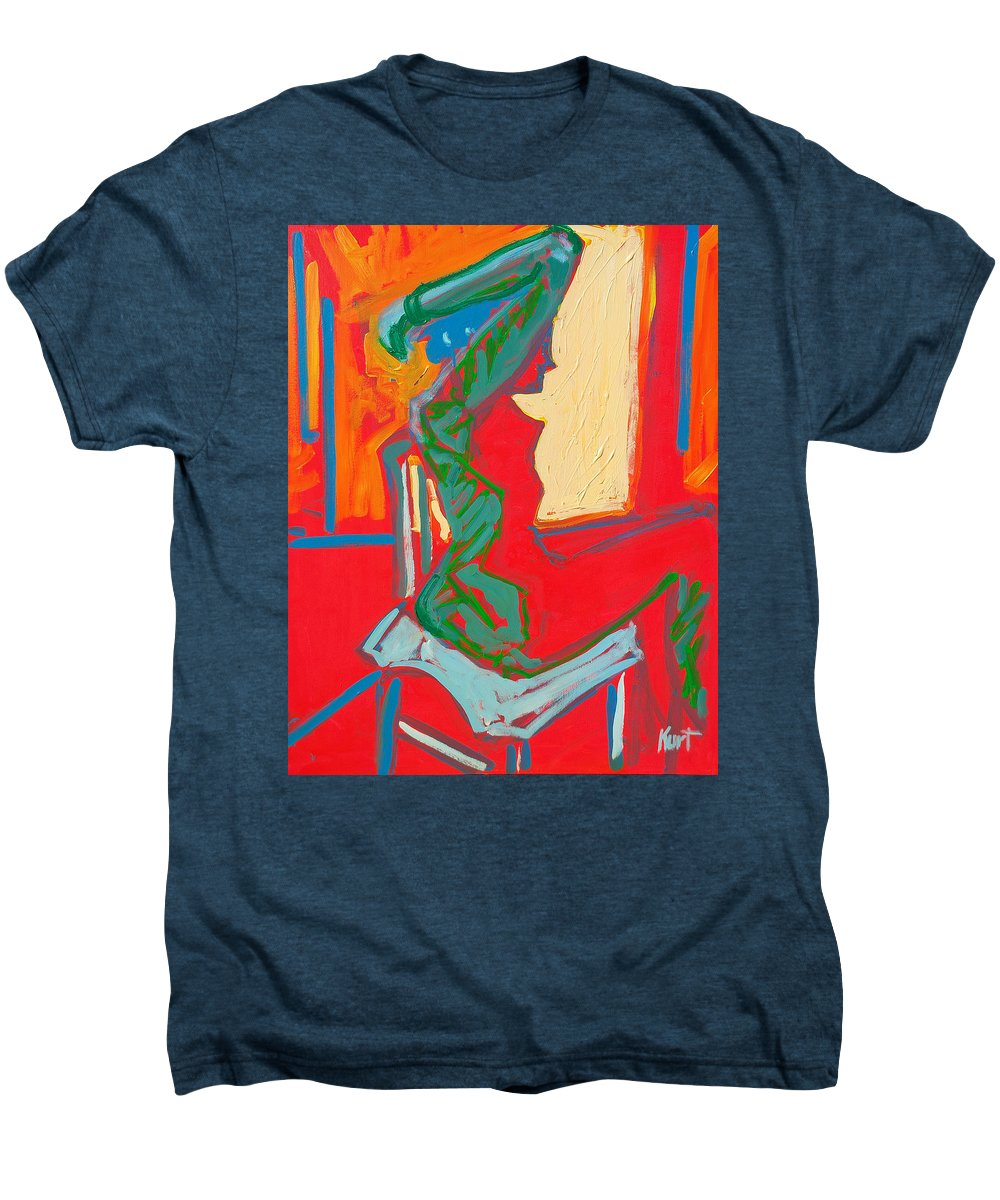 Woman Men's Premium T-Shirt featuring the painting Blue Chair Study by Kurt Hausmann