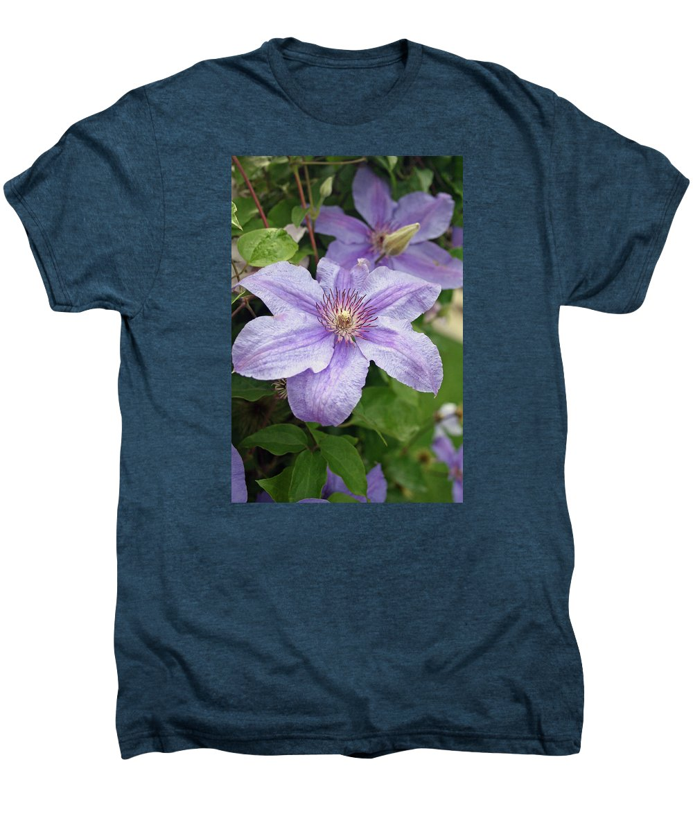 Clematis Men's Premium T-Shirt featuring the photograph Blue Clematis by Margie Wildblood