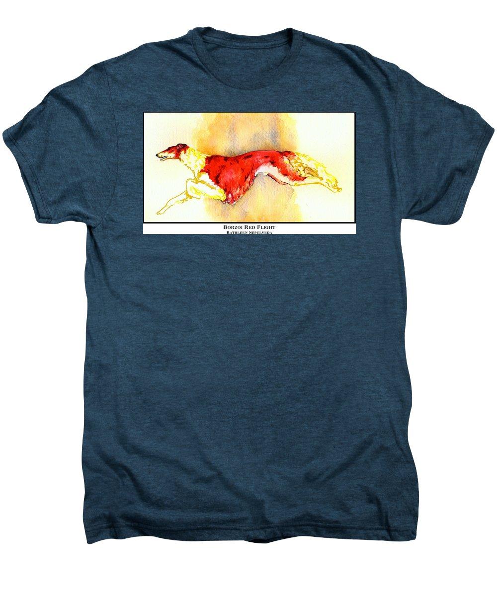 Borzoi Men's Premium T-Shirt featuring the digital art Borzoi Red Flight by Kathleen Sepulveda