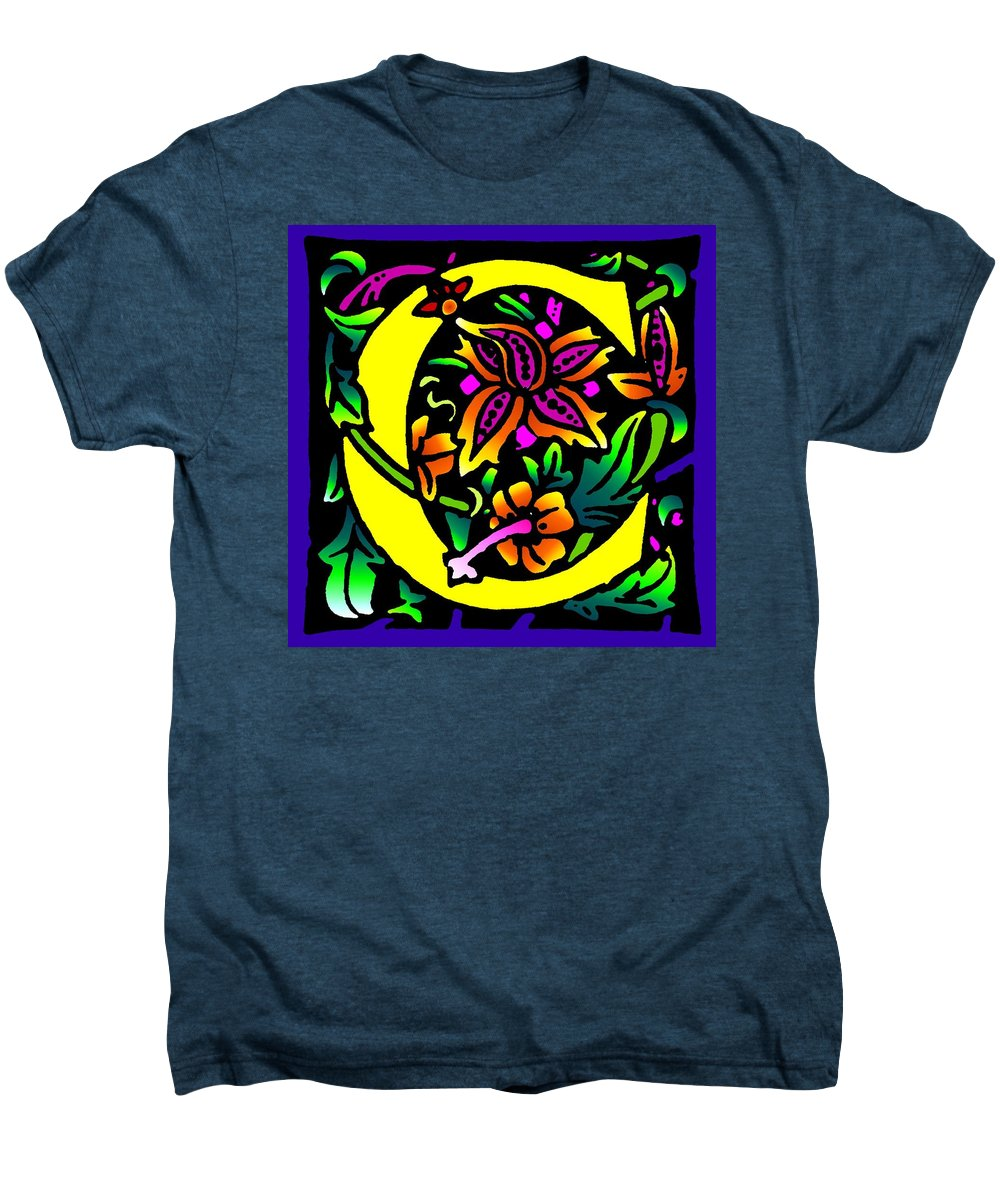 Alphabet Men's Premium T-Shirt featuring the digital art C In Yellow by Kathleen Sepulveda
