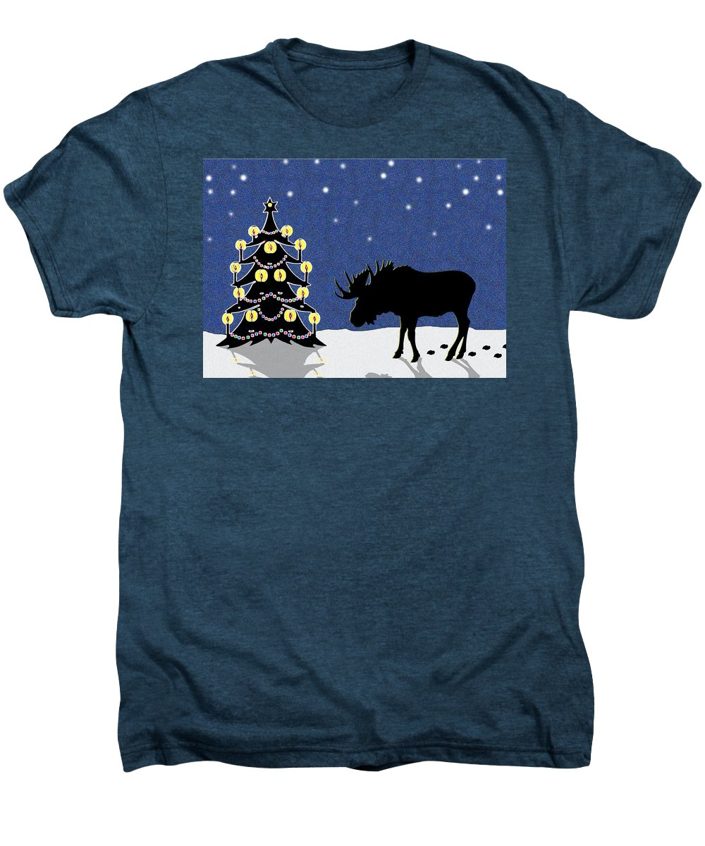 Moose Men's Premium T-Shirt featuring the digital art Candlelit Christmas Tree And Moose In The Snow by Nancy Mueller