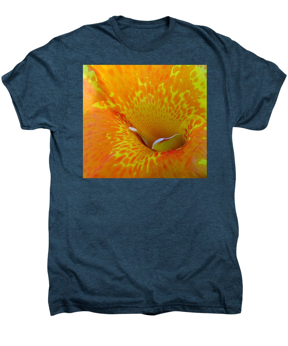 Orange Yellow Flower Men's Premium T-Shirt featuring the photograph Canna by Luciana Seymour