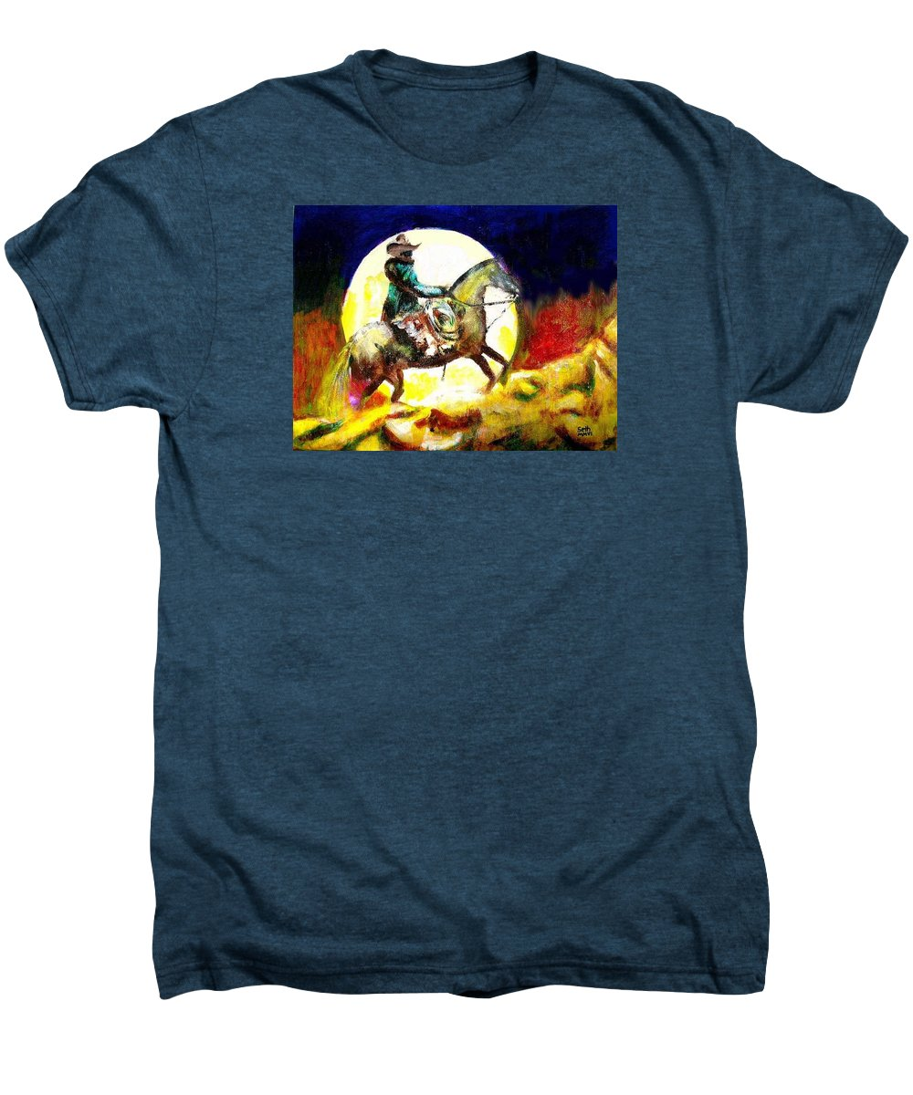 Canyon Moon Men's Premium T-Shirt featuring the painting Canyon Moon by Seth Weaver