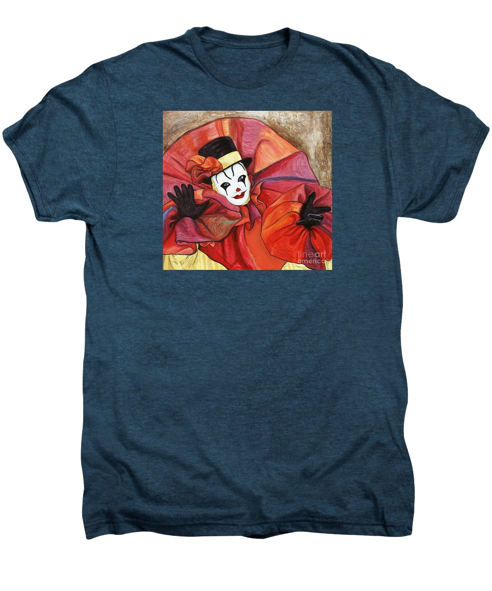 Clown Men's Premium T-Shirt featuring the painting Carnival Clown by Patty Vicknair