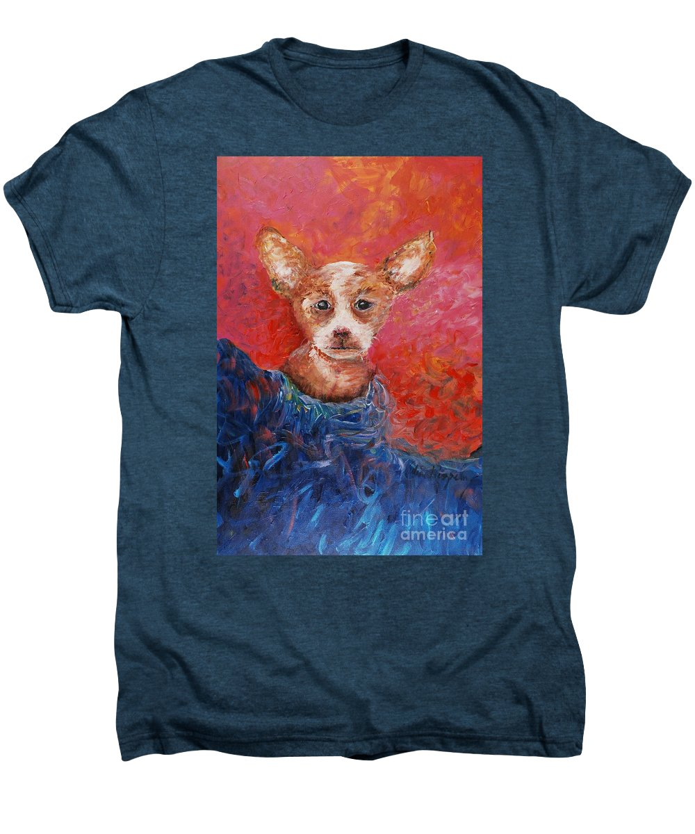 Dog Men's Premium T-Shirt featuring the painting Chihuahua Blues by Nadine Rippelmeyer