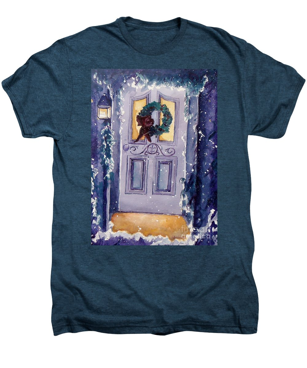 Holiday Scene Men's Premium T-Shirt featuring the painting Christmas Eve by Jan Bennicoff
